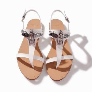 Zara Metal Bee White Leather Sandal